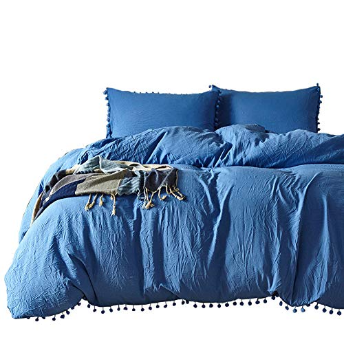 Tassel Duvet Set King Size, 3Pcs Bedding Set with Edging Fringe Balls Design, Soft Breathable Wrinked