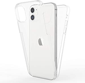 NALIA 360 Degree Cover Compatible with iPhone 12 / iPhone 12 Pro Case, Silicone Bumper with Ultra-Thin Front Screen Protector & Back Hardcase, Complete Mobile Phone Full-Body Skin - Transparent