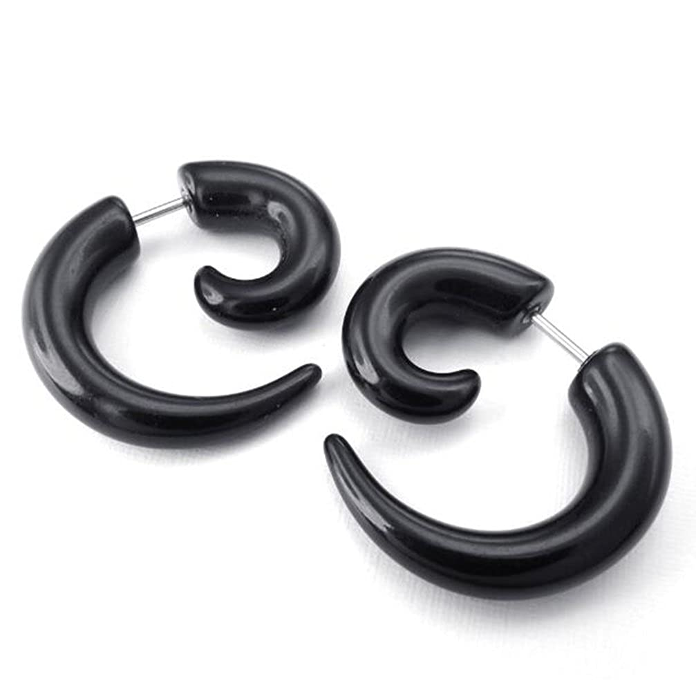 Stainless Steel 1 Pair (2pcs) Resin Horn Claw Fake Ear Plugs Earrings, Black LAFATINA SE-16217