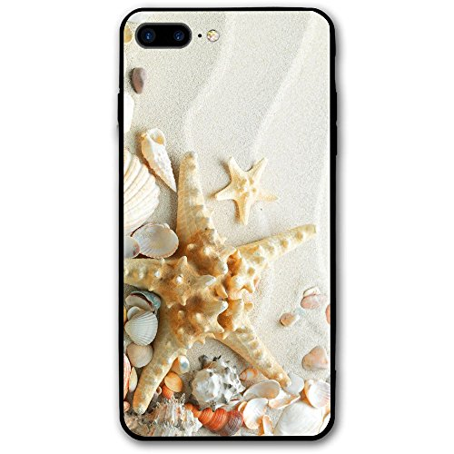 Happy Index Starfish Seashells iPhone 7 Plus Case/iPhone 8 Plus Case Soft TPU Shell Shock-Absorption Bumper Anti-Scratch Case Enhanced Grip Protective Defender -