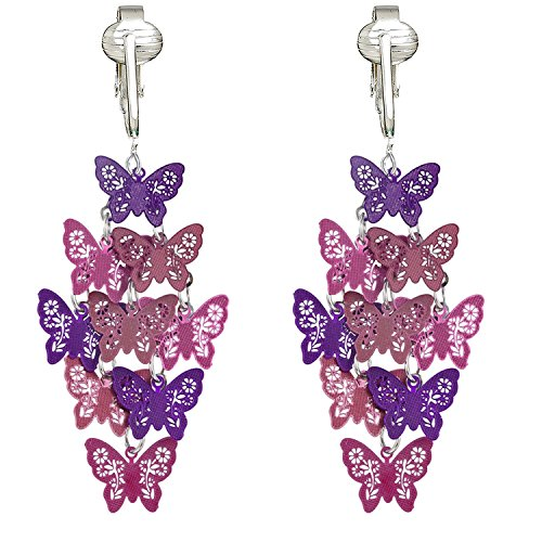 (Beautiful Dangle Clip On Earrings for Women, Bohemian Drop Butterfly, Dragonfly, Leaves, Flowers (Purple Butterfly))