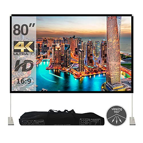 Projector Screen with Stand 80 inch Portable Projection Screen 16:9 4K HD Rear Front Projections Movies Screen with Carry Bag for Indoor Outdoor Home Theater Backyard Cinema Trave …