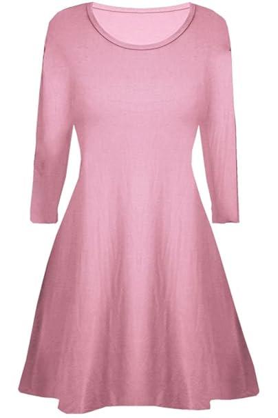 355cd5380196 Fashion Oasis Girls Skater Plain Long Sleeve Summer Swing Dress Ages 5-13   Amazon.co.uk  Clothing