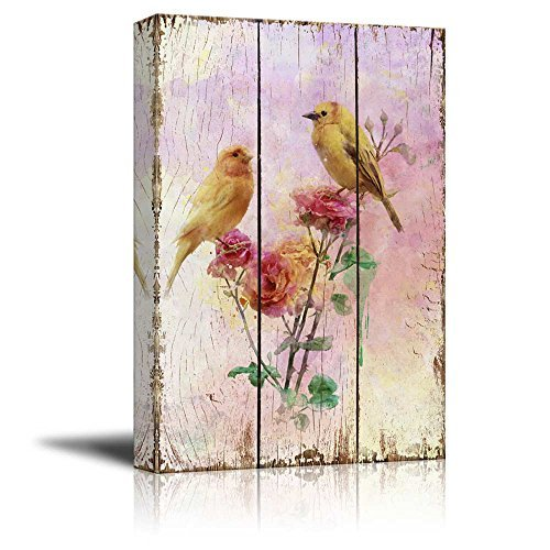 Yellow Canary Birds on Branches with Pink Roses Over Wood Panels Nature