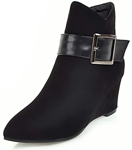 a56b1915fc9 SFNLD Women s Comfortable Faux Suede Buckle Pointed Toe Wedge Heels Zipper  Ankle High Short Boots Black