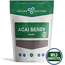 Nature Restore Wild Harvested Acai Berry Powder, (8 ounces) Non-GMO & Gluten Free, Completely Wild Grown