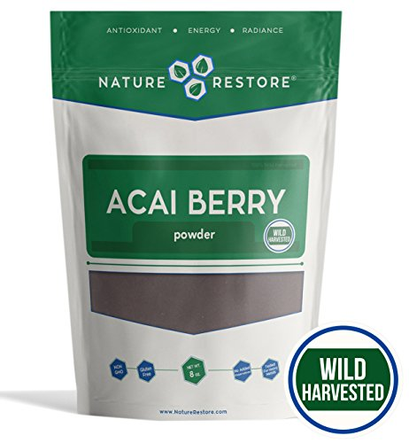Acai Powder (Nature Restore Wild Harvested Acai Berry Powder, (8 ounces) Non-GMO & Gluten Free, Completely Wild Grown)