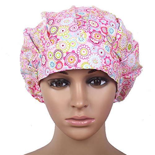 Doctor Classic Scrub Hat Adjustable Sweatband Bouffant Cap for Women Ponytail (Print 7)