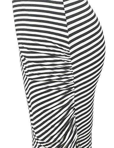 Racerback Asymmetrical Striped Long Dress White Charcoal Size M