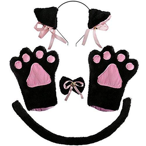 Kitty Costume,Hollaween DIY Cosplay Cute Cat Animal Sexy Decoration Girl Headwear Handband Paw Ear Bow Tie Set (black)