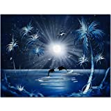 Trademark Fine Art Dolphins at Night by Conrad, 18x24-Inch Canvas Wall Art