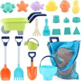 MINGPINHUIUS Kids Beach Toys Toddlers Beach Sand Toy Set with Bucket Animal Molds and Mesh Bag Soft Plastic Material (20pcs)