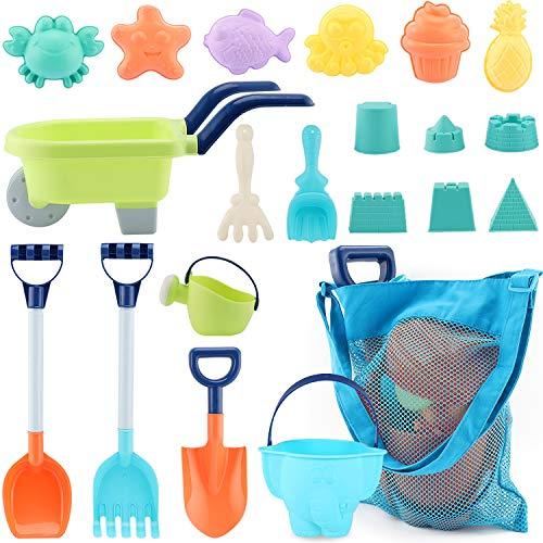 MINGPINHUIUS Beach Toys Kids Boys Beach Sand Toy Set with Barrow Elephant Bucket Two Big Shovels One rake and Mesh Bag Soft Plastic Material (20 pcs)