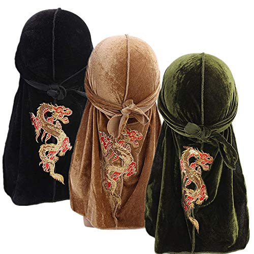 Unisex 3PCS Deluxe Velvet Bruce Lee Dragon Durag 360,540,720 Waves Pirate Cap Long Tail Doo RAG (Black+Khaki+Green)