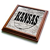 3dRose trv_268695_1 Kansas State Capit Trivet with Tile, 8 by 8''