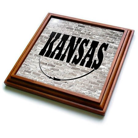 3dRose trv_268695_1 Kansas State Capit Trivet with Tile, 8 by 8'' by 3dRose