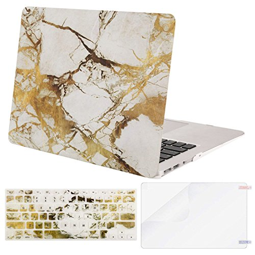 MOSISO Plastic Pattern Hard Case Shell & Keyboard Cover & Screen Protector Compatible MacBook Air 11 Inch (Models: A1370 & A1465), White & Gold Marble