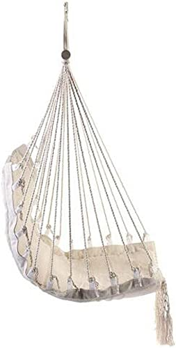HI SUYI Macrame Ceiling Chair-Bohemian Hanging Swing Hammock Lounge Chair Free Standing with Wooden Bar for Inside Outside Bedroom Backyard Porch Tree