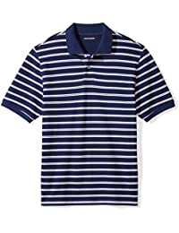 Men's Regular-Fit Striped Cotton Pique Polo Shirt