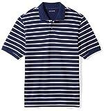 Amazon Essentials Men's Regular-Fit Cotton Pique Polo Shirt, Navy/White Stripe, XX-Large