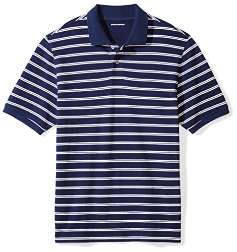 Amazon Essentials Men's Regular-Fit Cotton Pique Polo Shirt, Navy/White Stripe, XX-Large
