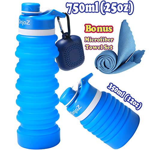 OnjoZ 750ml(25oz) Collapsible Water Bottle – BPA Free, FDA Approved, Silicone, Leak Proof, Portable, Travel, Foldable Water Bottle, with Quick Dry Microfiber Towel