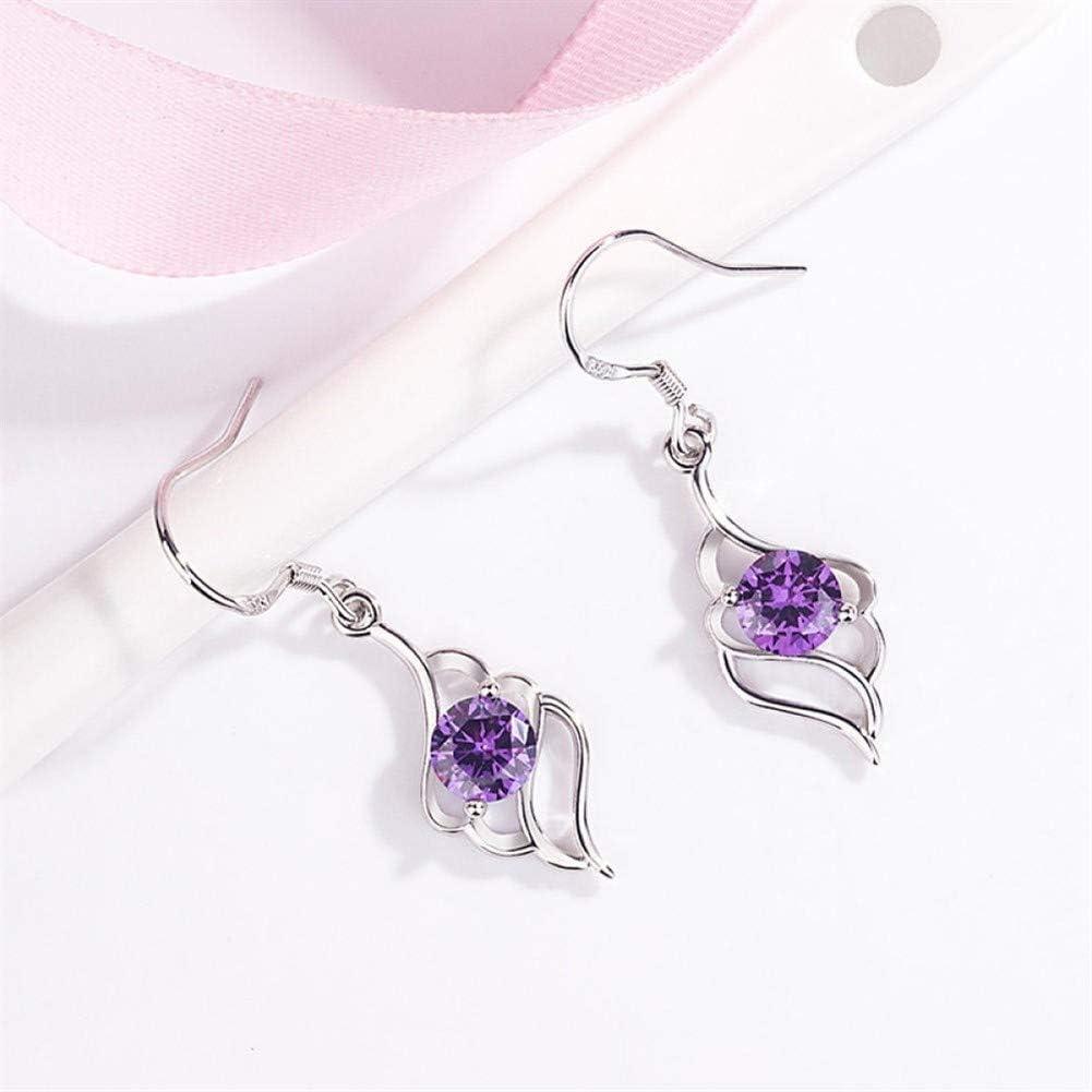 TALIKE Regalos para Chicas 925 Pendiente de Diamante Color Plata del Zafiro de los Pendientes de la Piedra Preciosa del Granate de Compromiso de Las Mujeres con topacio Azul (Color : B)