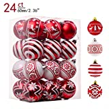 Valery Madelyn 24ct 60mm Traditional Red and White Shatterproof Christmas Ball Ornaments Decoration,Themed with Tree Skirt(Not Included)