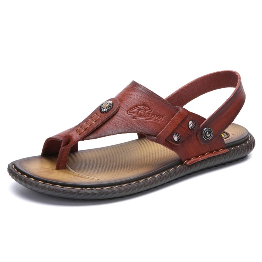 Gobling Men's Sandals Flip Flops Rubber Slippers Comfortable Leather Sandals Summer Outdoor Beach Slippers (Color : Brown, Size : 7 D(M) US) by Gobling Men Sandals (Image #1)