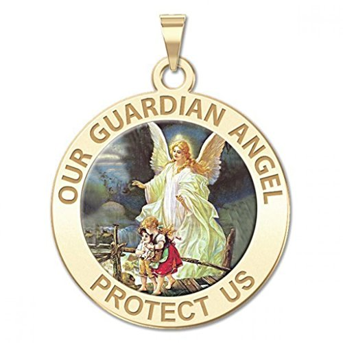 Our Guardian Angel Round Religious Color Medal 14K Yellow or White Gold or Sterling Silver