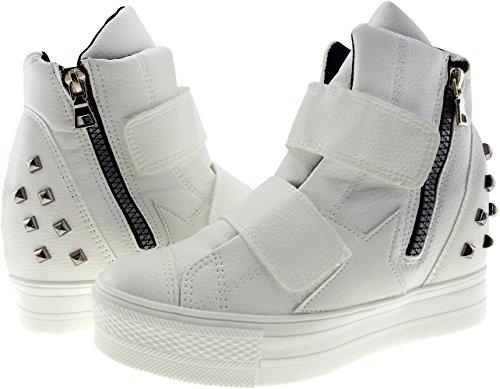 Klettverschluss bis Top Maxstar C2 High hoch C2 Bänder White Sneakers Tpq1S