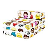 Emoji Emoticons Print Children's Single Fold Out Foam Z Bed Guest Mattress Chair Bed