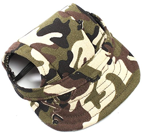 MaruPet Dog Sports Hat Pet Canvas Hat Sports Baseball Oxford Fabric Cap with Ear Holes for Small, Extra Small Dog Teddy, Pug, Chihuahua, Shih Tzu, Yorkshire Terriers, Papillon Camouflage M