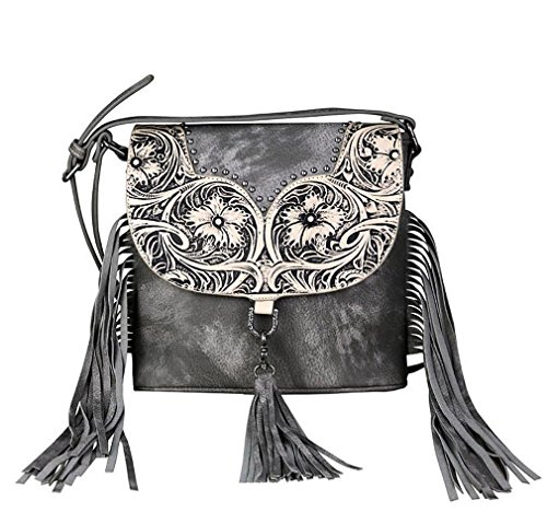 Trinity Floral Crossbody Tooled on Ranch Leather Gray Small Fringe New dqvTd