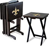Imperial Officially Licensed NFL Merchandise: Foldable Wood TV Tray Table Set with Stand, New Orleans Saints