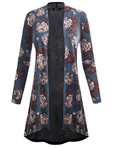 BILY Women's Open Front High-Low Long Sleeve Floral Print Cardigan 61039 Teal - Cardigan Print Petite