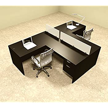 Two Person L Shaped Divider Office Workstation Desk Set, #OT SUL SP56