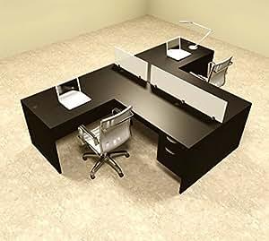 two person l shaped divider office workstation desk set ot sul sp56 office products. Black Bedroom Furniture Sets. Home Design Ideas