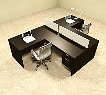 Amazon.com : Two Person L Shaped Divider Office Workstation Desk ...