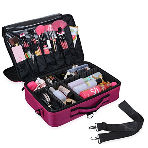 Beauty Jewelry Set - Voilamart Makeup Train Case 3 Layer Large 15.7 Inch, Cosmetic Organizer Travel Makeup Artist Storage Bag with Adjustable Shoulder Strap, for Make Up Beauty Brushes Set Toiletry Jewelry - Pink