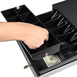 Esky Point of Sales/Cash 12/24V Heavy Duty RJ-12 Key-Lock Cash Drawer/Register, Moveable Coin Trays