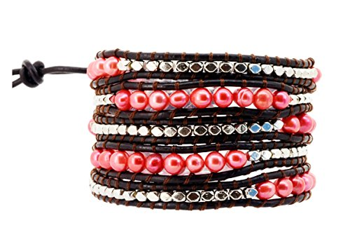 Around Pearl Wrap (Mandala Crafts Womens Long Beaded Dyed Freshwater Cultured Pearl Wrap Around Leather Bracelet (Alloy & Red))