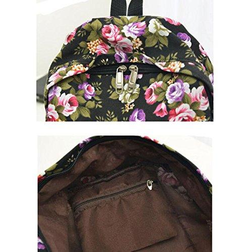 Chica Flores Moda Flor Impreso Mochila Escuela Bolsa De Hombro Universidad Mochila Multicolor Blue