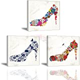 inspiring chinese garden design Abstract High Heels Canvas Wall Art, Romantic Red Indigo Colorful Multi Flowers Design Painting, Fashion Woman Shoes Shop Picture, 3 Pieces Lady Collection Home Decor (Ready to Hang, Waterproof)