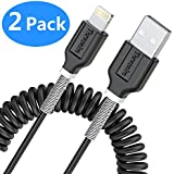Coiled Lightning to USB Cable(2Pack, 4 Feet, 1.2 Meters), Retractable Cable - Black
