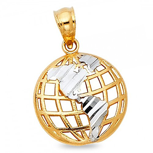 Globe Pendant Solid 14k Yellow White Gold World Earth Charm Polished Open Design Two Tone 13 x 13 mm 14k Gold Globe Charm