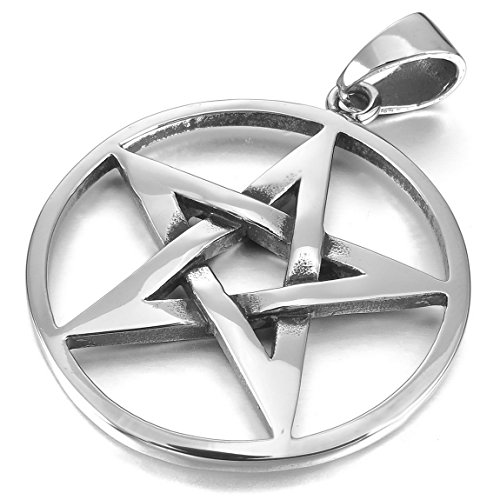 INBLUE Men's Stainless Steel Pendant Necklace Silver Tone Pentagram Pentacle Star -With 23 Inch ()