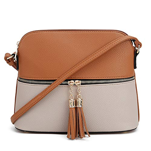 Mini Womens Tan Leather (SG SUGU Lightweight Medium Dome Crossbody Bag with Tassel | Zipper Pocket | Adjustable Strap (Tan/Light Stone))