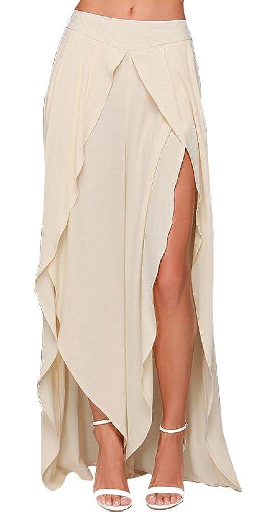 Lingswallow Women Chiffon High Waist Side Split Irregular Maxi Skirt Pants