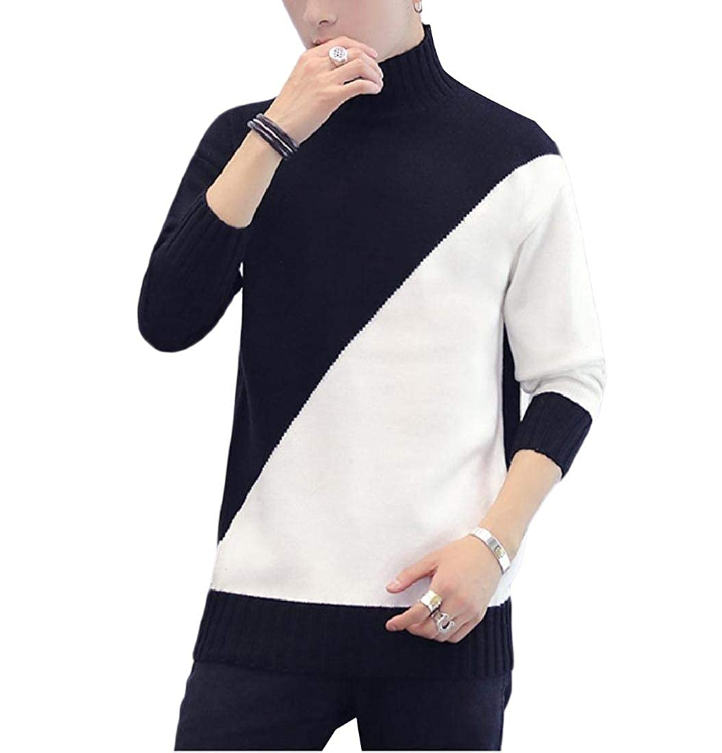 YUNY Mens Spell Color High Neck Knit Sweater Casual Pullover Black L